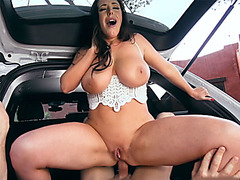 Huge boobs festival bitch gives up her ass for a ride