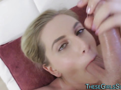 Blonde babe gives blowjob