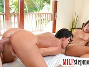 India Summer and Eva Lovia threesome sex in the bedroom