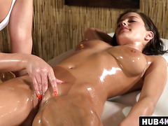 Sluts Anabelle and Tracy enjoy lesbian massage