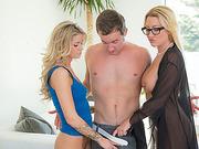 MILF Jennifer Best initiates group sex