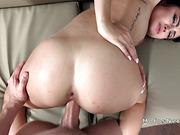 Slim gf deep throats and bangs big cock