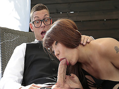 Dorky bartender got his big cock sucked by big titty boss