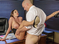 She-E-O Ariella  half naked while employee Sean licked on her nice big titties