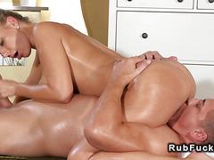 Huge tits masseuse sucks in sixtynine
