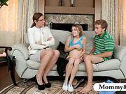 Stepmom MILF finds a teen couple fucking on her couch