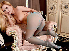 Cute stunning blonde Lena Spanks strips off and masturbates in sheer sexy nylon pantyhose