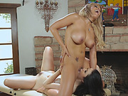Busty blonde lesbian sits on slut pretty face