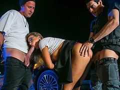 Nerdy college student  Britney had her holes penetrated at the same time