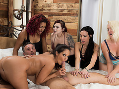 Busty babe Angela White shares one big cock in foursome