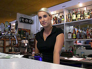 Hot and beautiful barmaid gets paid and laid in public