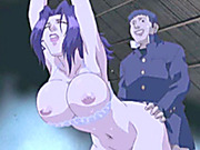 Tied up Japanese hentai with bigboobs gets her ass filled up by her brother