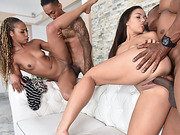 Ebony Misty and Adriana in a hot foursome fuck