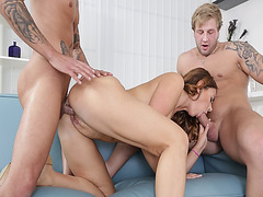 Peter fucking Ani Black Fox doggystyle while sucking Blonder