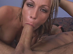 Sexy cougar swallows sweet meat stick