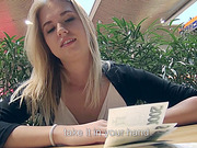 Blonde amateur Violette flashes tits and ass in public and gets fucked