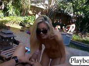 Group of bikini ladies pool party n orgy