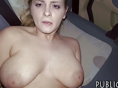Czech slut flashes her big tits n nailed