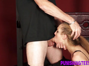 Teen gives messy bdsm bj