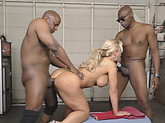 Big boob blonde beauty going rough with two black guys