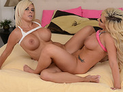 Brandi gagged on strapon cock while Sami facefucked her