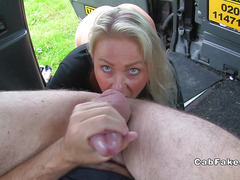 Blue eyed blonde rimming fake taxi driver
