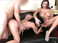 Small tits babe licks huge tits female agent