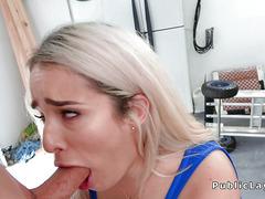 Round butt blonde bangs in garage