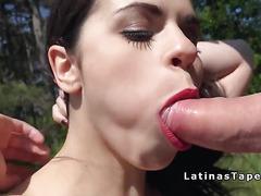 Natural busty Spanish babe bangs outdoor