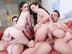 Jenna Ross and Jennifer White massaging a huge cock