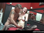 Trashy blonde slut pussy licked for money in Amsterdam