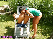 Glam clothed lesbos outdoors