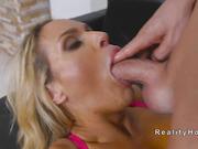 Tanned huge tits Milf fucks outdoor
