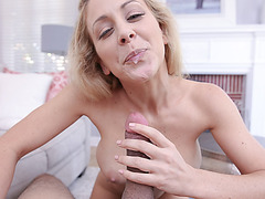 Stepmom sucked and rode on stepsons throbbing cock