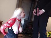 Sucking submissive fucked