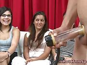Cfnm babes watch cock pumping victim