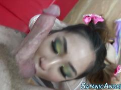 Little asian slut facial