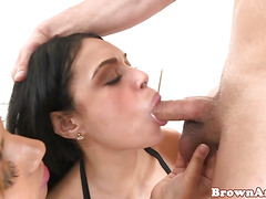 Roundass ebony vixens sharing dick in trio