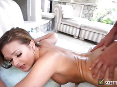 Brunette angel with perfect ass gets fucked