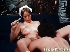 Hardcore deepthroat blowjob in this classic porn