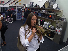 Super hot and sexy brunette blows his horn for some fast cash