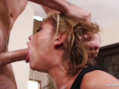 Horny blonde is crazy for deepthroat blowjob