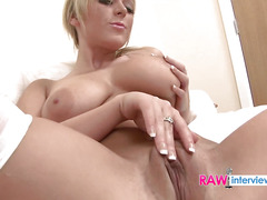 Roxy plays with a clear vibrator to stimulate her coochie