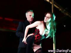 Stripper babe sucks cock