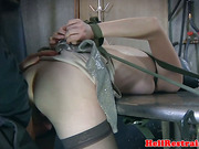 Breath play hooded sub fucked from behind
