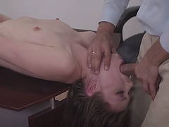 Dirty daddy creampied his stepdaughter after his boss