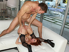 Busty redhead fingered and analed by Rocco until she squirts