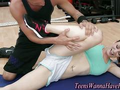 Bendy teens in the gym