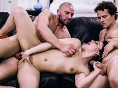 Dad and son 3some with cheater girlfriend