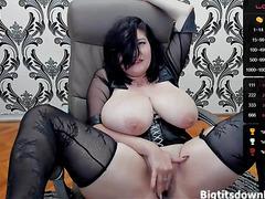 Brunette has impressive tits